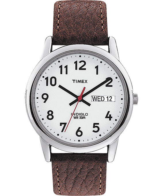 Reloj Easy Reader de 35 mm con correa de cuero Silver-Tone/Brown/White large