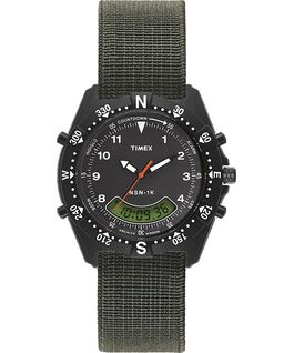 Reloj NSN-1K de 39mm con correa elástica Negro/verde large
