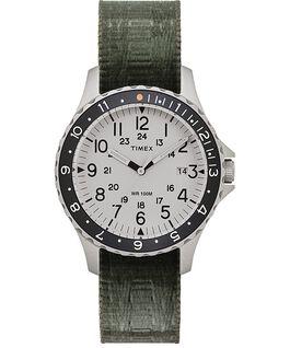 Reloj Navi Ocean de 38mm con correa de tela reversible Acero inoxidable/Verde/Azul large