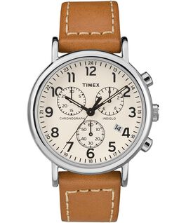 Weekender Chrono 2 Piece 40mm Leather Watch Silver-Tone/Tan/Cream large