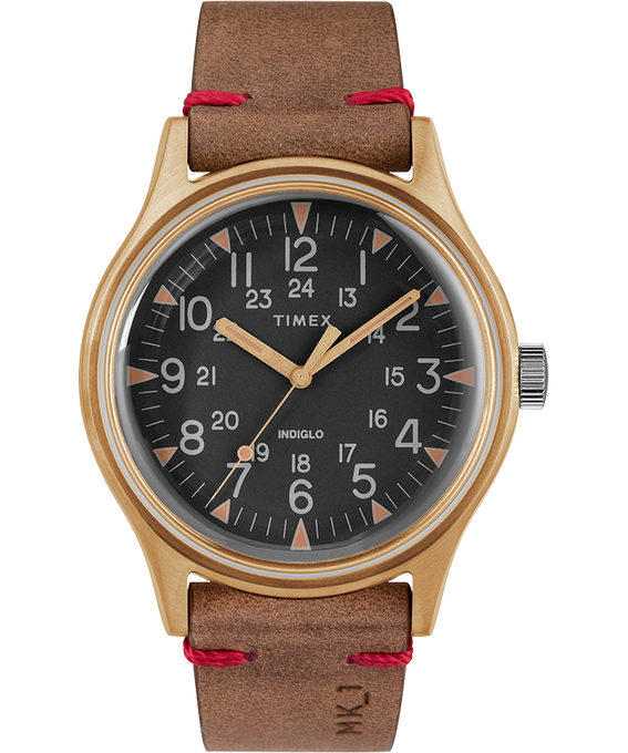 Reloj de acero MK1 de 40mm con correa de cuero Tono bronce/Marrón/Negro large