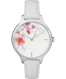 95cd948e6c15 Crystal Bloom with Swarovski Elements 36mm Leather Watch Chrome White large