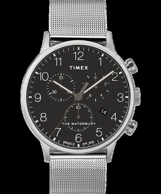 Reloj cronógrafo Classic Waterbury de 40mm con correa de malla metálica Acero inoxidable/Negro large