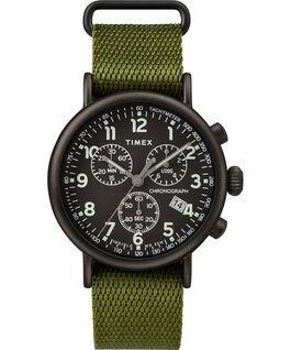 Reloj cronógrafo Standard de 40mm con correa de tela Negro/verde large