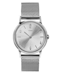 Reloj Marlin de 34mm con movimiento mecánico de cuerda manual y pulsera de malla metálica de acero inoxidable Acero inoxidable/Blanco large