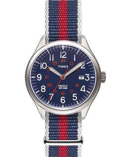 Reloj Waterbury United de 38mm con correa de tela Acero inoxidable/Azul large