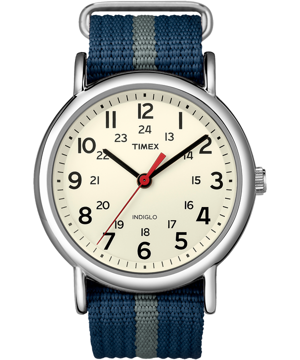Reloj Weekender de 38mm con correa de nylon Silver-Tone/Blue/White large