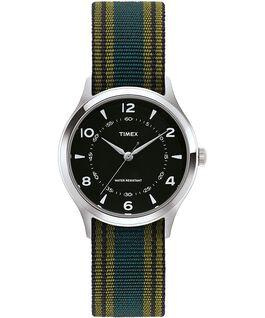 Reloj Whitney Village de 38mm con correa de otomán y esfera negra Acero inoxidable/Negro large