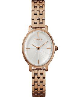Reloj Milano Oval de 24mm con correa metálica de acero inoxidable Tono oro rosa/Plateado large