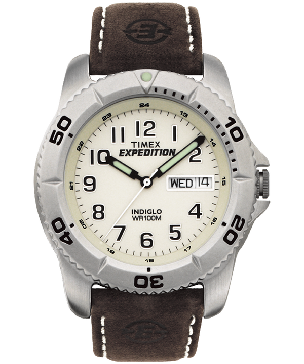 Reloj Expedition Traditional de 40 mm con correa de cuero Silver-Tone/Brown/Natural large