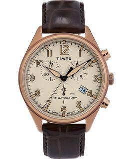 Reloj cronógrafo Waterbury Traditional con tres esferas de 42mm con correa de cuero Dorado/Marrón large