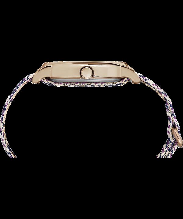 Reloj Weekender Chevron de 38mm con correa de tela Rose-Gold-Tone/Purple/Cream large