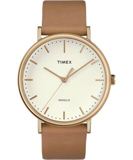 Fairfield 41mm Leather Watch Rose-Gold-Tone/Tan/Natural large