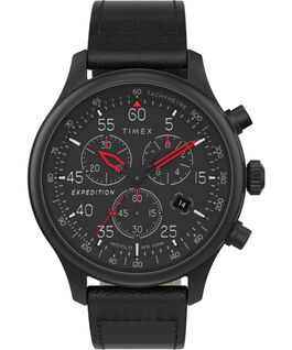 Reloj cronógrafo Expedition Field de 43 mm con correa de piel Negro large