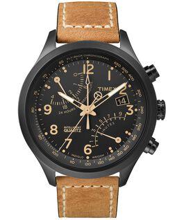 Intelligent Quartz Fly-Back Chronograph 43mm Leather Watch Black/Tan large