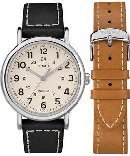 Set de regalo de reloj Weekender de 40mm con correa de cuero de 2 piezas Cromo/Negro/Crema large