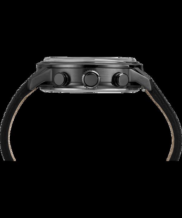 Reloj cronógrafo lineal de 45mm con correa de cuero Gray large