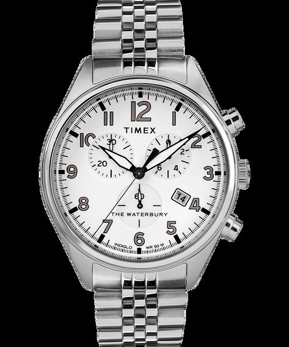 Reloj cronógrafo Waterbury Traditional con tres esferas de 42mm con correa metálica de acero inoxidable Acero inoxidable/Blanco large