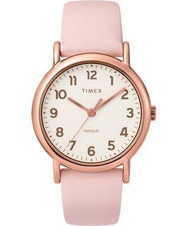 Reloj de 2 piezas Weekender de 38mm con correa de cuero Tono oro rosa/Rosa/Crema large