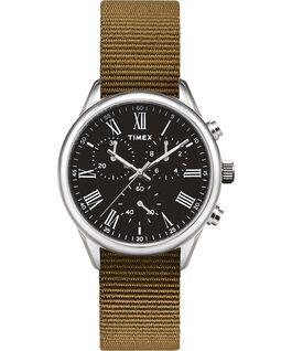 Reloj Weston Avenue de 38mm con correa de tela Acero inoxidable/Verde/Negro large