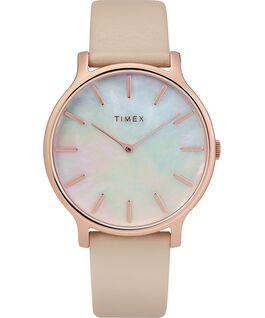 Reloj Transcend de 38mm con correa de cuero Dorado rosa/Rosa/Nácar large