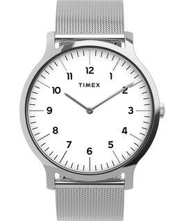 Reloj Norway de 40mm con correa de malla metálica de acero inoxidable Plateado/Acero inoxidable/Blanco large