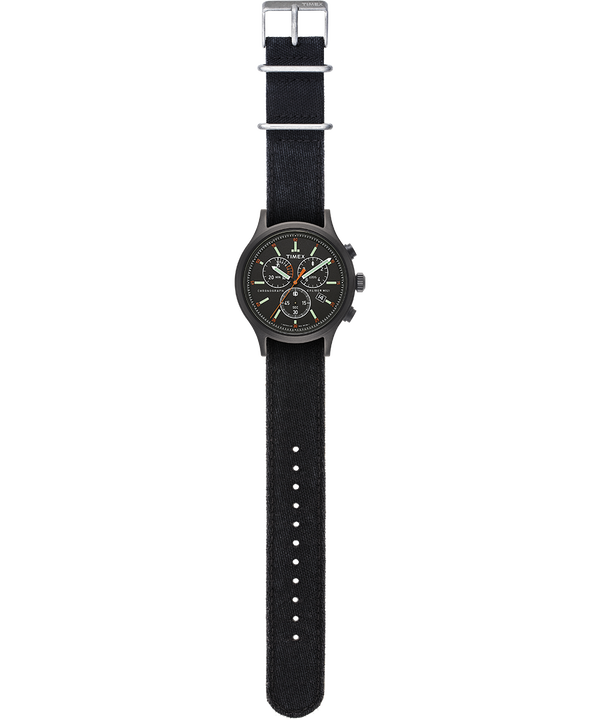 Reloj cronógrafo Allied de 42mm con correa vaquera lavada a la piedra Negro large