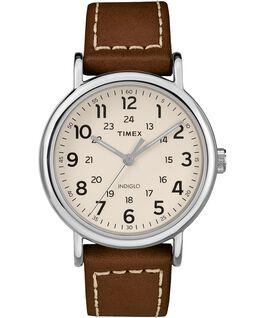 Reloj en 2 piezas Weekender de 40mm con correa de cuero Silver-Tone/Brown/Cream large