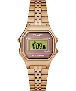 Reloj digital mini de 27mm con correa metálica Tono oro rosa large