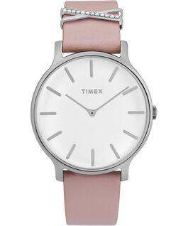 Reloj Transcend de 38mm con correa de cuero adornada Plateado/Rosa/Blanco large