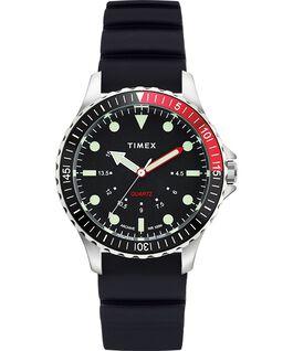 Reloj Navi Depth de 38mm con correa de silicona Acero inoxidable/Negro large