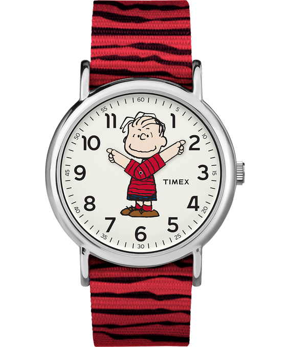 Linus 38mm Nylon Strap Watch Silver-Tone/Red/White large