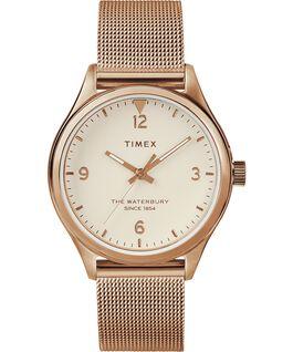 Reloj para mujer Waterbury Traditional de 34mm con correa de malla metálica Dorado rosa/Crema large