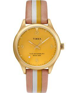 Reloj para mujer Waterbury Traditional de 34mm con correa de cuero a rayas Dorado/Oscuro/Amarillo large