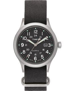 Reloj Allied de 40mm con correa de cuero lavado a la piedra Plateado/Negro/Verde large