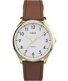 Reloj Easy Reader moderno de 32mm con correa de piel Oro rosa/Marrón/Blanco large