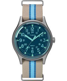 Reloj MK1 California de 40mm con correa de tela Plateado/Gris/Azul large