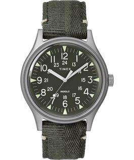 Reloj de acero MK1 de 40mm con correa de tela Acero inoxidable/Verde large