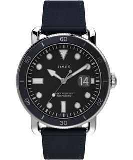 Reloj Port de 42mm con correa de piel Acero inoxidable/Azul/Negro large