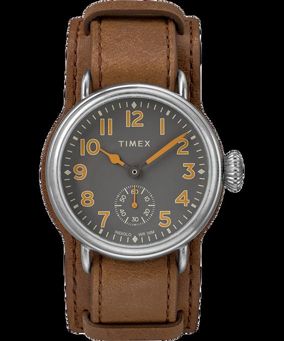 Reloj Welton de 38mm con correa de cuero Acero inoxidable/Marrón/Negro large