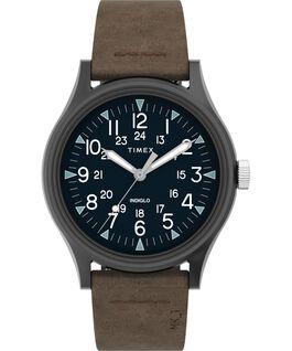 Reloj de acero MK1 de 40mm con correa de cuero Gunmetal/Brown large