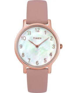Reloj Metropolitan de 34mm con correa de cuero y dial en nácar Dorado rosa/Rosa/Nácar large