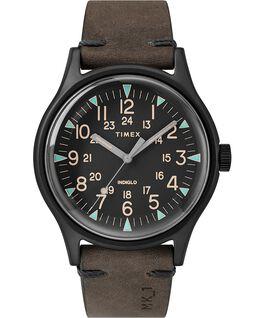 Reloj de acero MK1 de 40mm con correa de cuero Negro/Marrón large