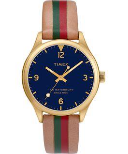 Reloj para mujer Waterbury Traditional de 34mm con correa de cuero a rayas Dorado/Camel/Azul large