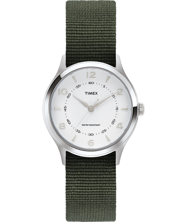 Reloj Whitney Village de 36 mm con correa reversible de otomán Acero inoxidable/Blanco large