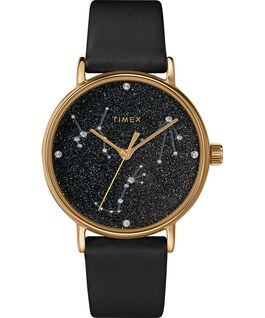 Celestial Opulence 37mm Textured Strap Watch Gold-Tone/Black large