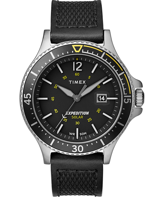 Expedition Ranger Solar 43mm Leather Strap Watch Silver-Tone/Black large