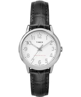 Reloj Easy Reader de 30mm con correa de cuero Chrome/Black/White large