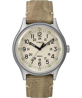 Reloj de acero MK1 de 40mm con correa de tela Acero inoxidable/Oscuro/Natural large