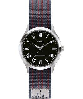 Reloj Whitney Avenue de 36mm con correa de otomán reversible Acero inoxidable/Negro large
